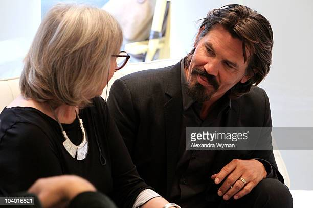Actress Gemma Jones and actor Josh Brolin attend Day 2 at the Variety Studio at Holt Renfrewduring the 35th Toronto International Film Festival on...