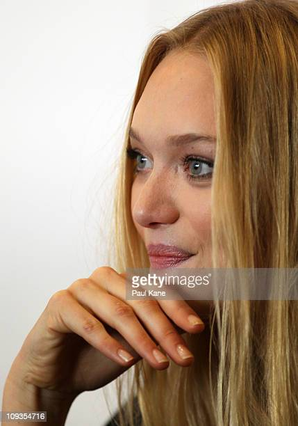 Actress Gemma Ward talks to the media during a media conference to promote the production of The Ugly One at the State Theatre on February 23 2011 in...