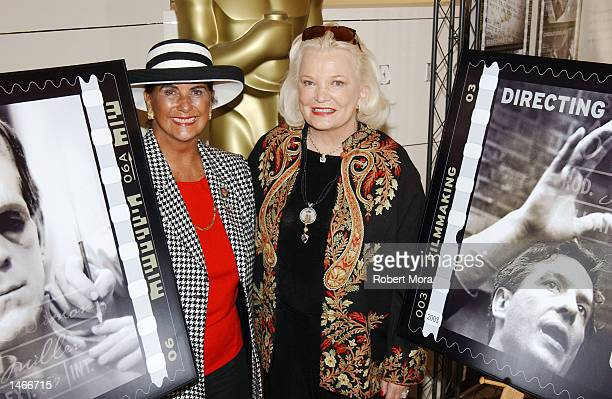 Actress Gena Rowlands and Sara Karloff pose for a photograph at the unveiling of the new American Filmmaking Behind the Scenes postage stamp at...