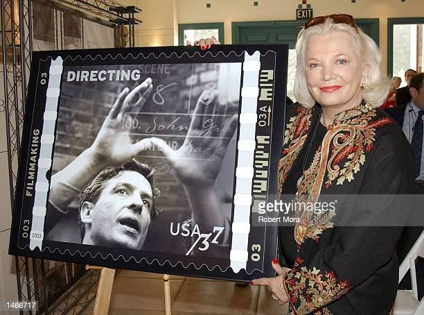 Actress Gena Rowlands unveils one of the new 'American Filmmaking Behind the Scenes' postage stamps at Fairbanks Center for Motion Picture Study on...