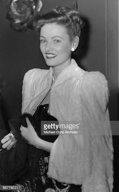 Actress Gene Tierney poses as she arrives to an event in Los Angeles California