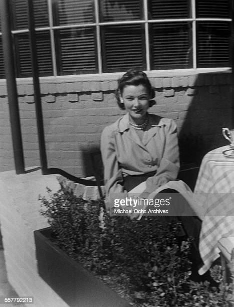 Actress Gene Tierney poses at lunch at the studio in Los Angeles California