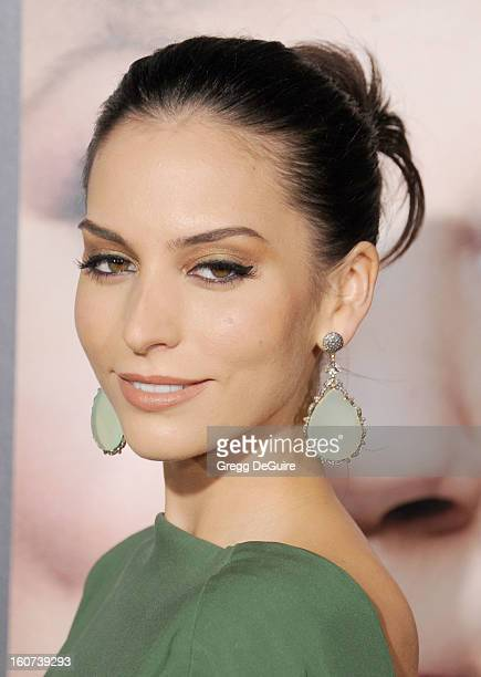 """Actress Genesis Rodriguez arrives at the """"Identity Thief"""" Los Angeles premiere at Mann Village Theatre on February 4, 2013 in Westwood, California."""