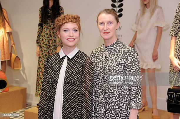Actress Genevieve Angelson and designer Orla Kiely attend the Orla Kiely presentation during New York Fashion Week September 2016 on September 8 2016...