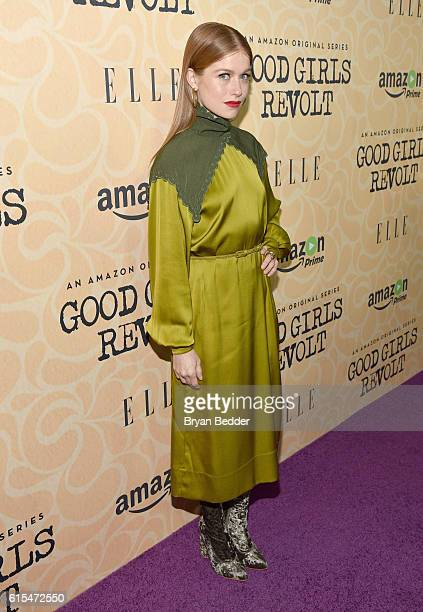 Actress Genevieve Angelson attends the Amazon red carpet premiere screening of the original drama series Good Girls Revolt at Hearst Tower on October...