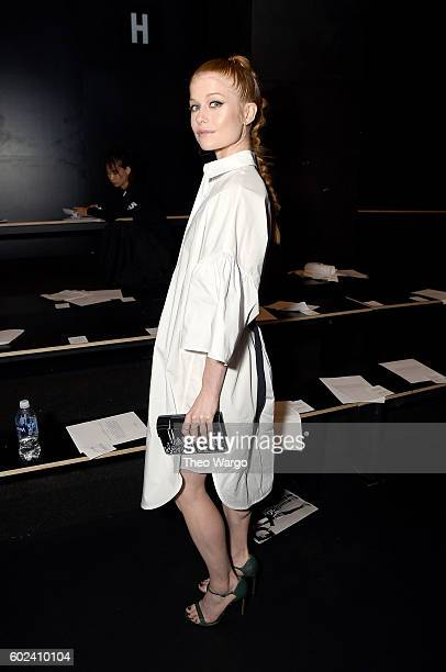 Actress Genevieve Angelson attends the Tome fashion show during New York Fashion Week The Shows at The Dock Skylight at Moynihan Station on September...