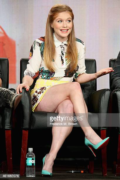 Actress Genevieve Angelson speaks onstage during the 'Backstrom' panel discussion at the FOX portion of the 2015 Winter TCA Tour at the Langham Hotel...