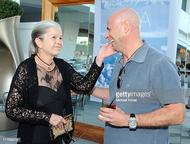 Actress Genevieve Bujold and Guy Laliberte attend the launch party for Guy Laliberte's book 'GAIA' at SLS Hotel on June 27 2011 in Beverly Hills...