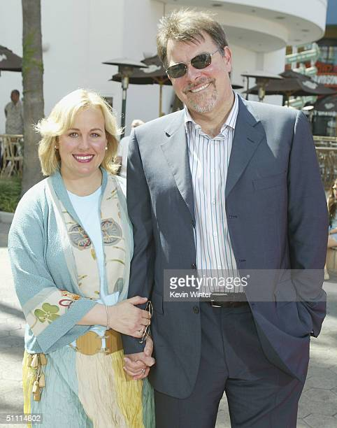 Actress Genie Francis and husband director Jonathan Frakes arrive at the premiere of Thunderbirds at the Universal Studios Cinemas on July 24 2004 in...