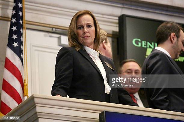 Actress Genie Francis of ABC's soap opera General Hospital rings the opening bell at the New York Stock Exchange on April 1 2013 in New York City