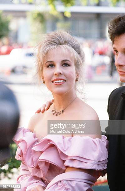 Actress Genie Francis with actor Steve Guttenberg arrive to the 55th Academy Awards at Dorothy Chandler Pavilion in Los AngelesCalifornia