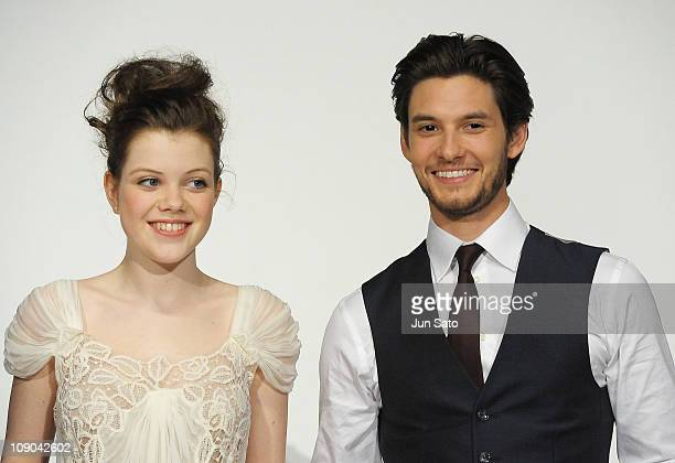 Actress Georgie Henley and actor Ben Barnes attend the 'The Chronicles of Narnia The Voyage of the Dawn Treader' premiere at the Nichigeki Theater on...