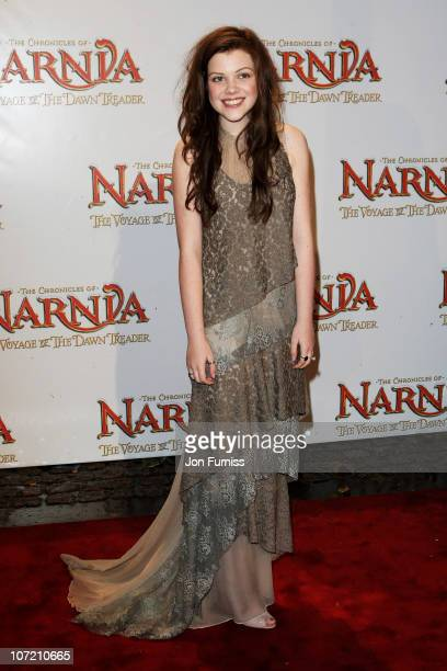 "Actress Georgie Henley attends ""The Chronicles Of Narnia: The Voyage Of The Dawn Treader"" Royal Film Performance 2010 at Odeon Leicester Square on..."
