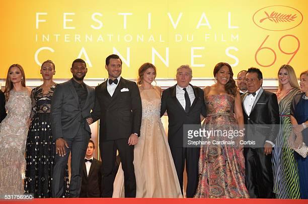 Actress Georgina Chapman actor Usher and his wife Grace Miguel actress Ana de Armas actor Edgar Ramirez director Jonathan Jakubowicz and his wife...