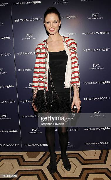 Actress Georgina Chapman attends a screening of 'My Blueberry Nights' hosted by The Cinema Society and IWC at The Tribeca Grand Hotel on April 02...