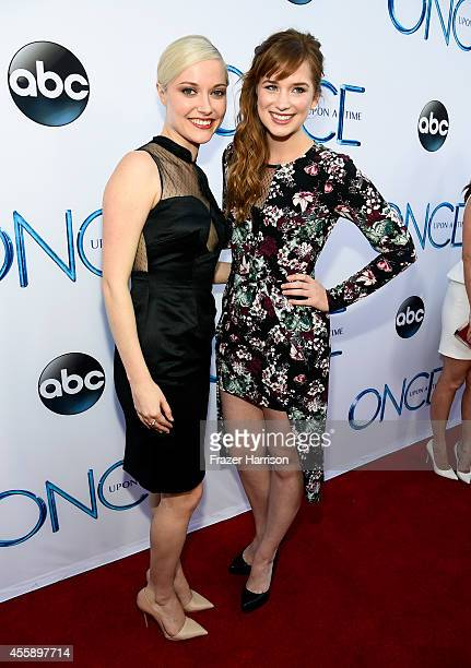 Actress Georgina Haig and Actress Elizabeth Lail attends a screening of ABC's Once Upon A Time Season 4 at the El Capitan Theatre on September 21...
