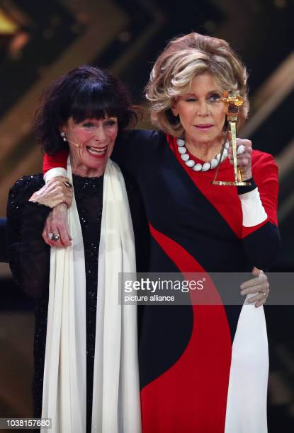 Actress Geraldine Chaplin hands over the award in the category 'Lifetime Achievement International' for actress Jane Fonda at the 52nd Golden Camera...