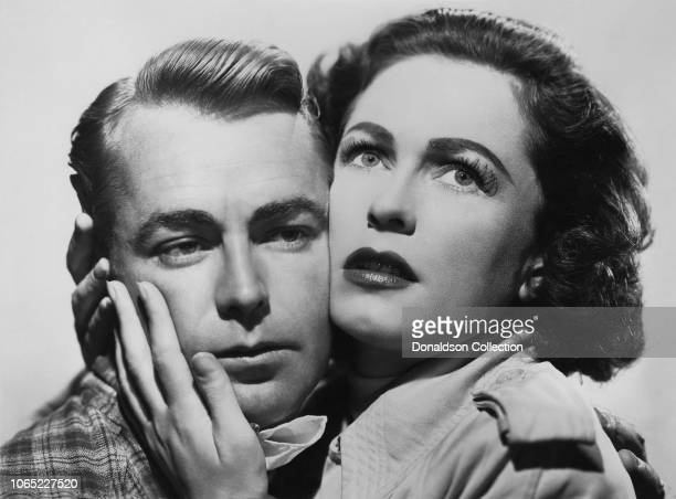 """Actress Geraldine Fitzgerald and Alan Ladd in a scene from the movie """"O.S.S."""""""