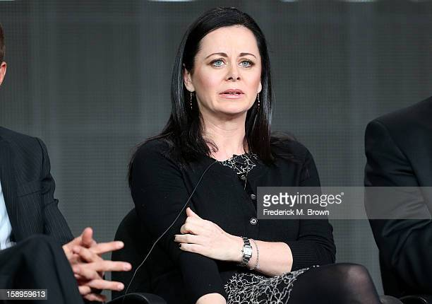Actress Geraldine Hughes speaks onstage during the 'Killing Lincoln' panel discussion at the National Geographic Channels portion of the 2013 Winter...