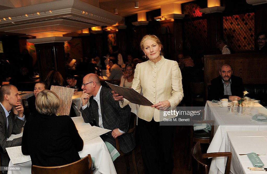 Actress Geraldine James (L), working as Maitre d, attends One Night Only at The Ivy, featuring 30 stage and screen actors working as staff during dinner at The Ivy, in aid of The Combined Theatrical Charities, on December 2, 2012 in London, England.