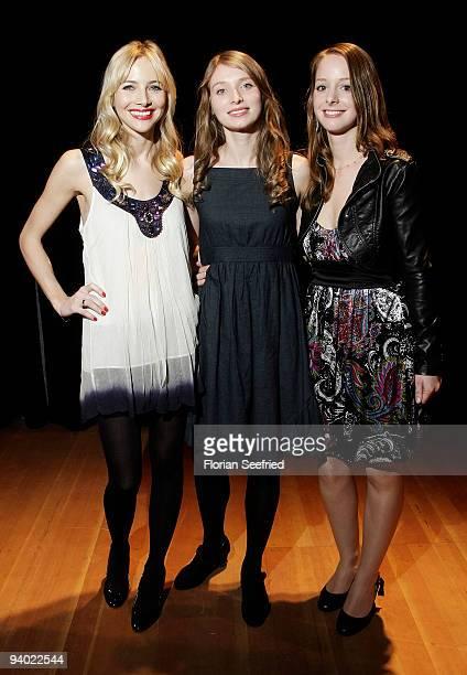Actress Geraldine Laprell, actress Constanze Waechter and actress Amelie Plaas-Link attend the photo call of 'Fruehlings Erwachen' at Radialsystem V...