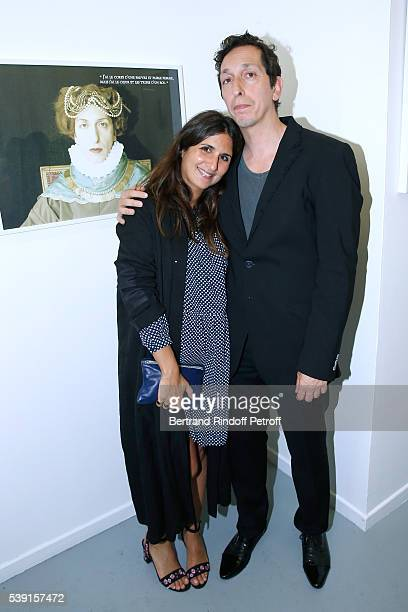 Actress Geraldine Nakache and Model of the Exhibition director Stephane Foenkinos attend the '55 Politiques' Exhibition of Stephanie Murat's Pictures...