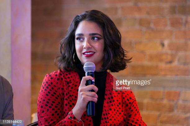 Actress Geraldine Viswanathan speaks on a panel at the Miracle Workers Sundance Hangover Brunch on January 26 2019 in Park City Utah
