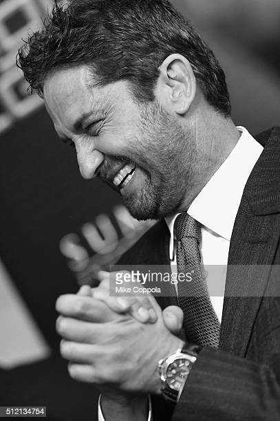 converted to black and white NEW YORK NY FEBRUARY 24 Actress Gerard Butler attends the 'Gods Of Egypt' New York Premiere at AMC Loews Lincoln Square...