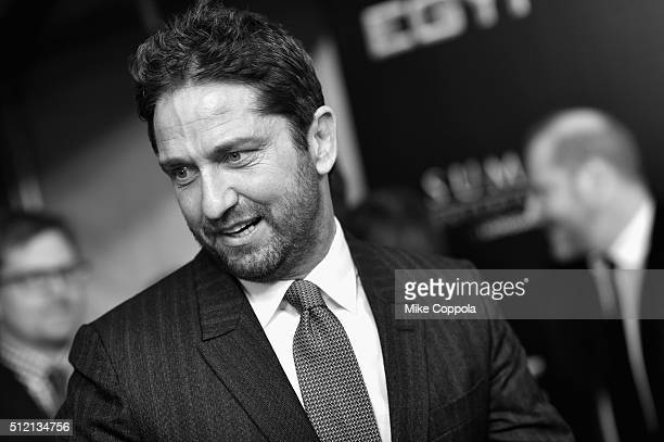 Actress Gerard Butler attends the 'Gods Of Egypt' New York Premiere at AMC Loews Lincoln Square 13 on February 24 2016 in New York City