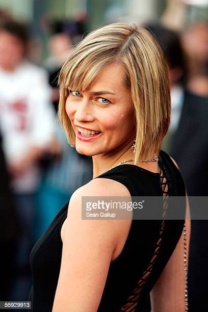 Actress Gesine Cukrowski arrives at the German Television Awards at the Coloneum on October 15 2005 in Cologne Germany