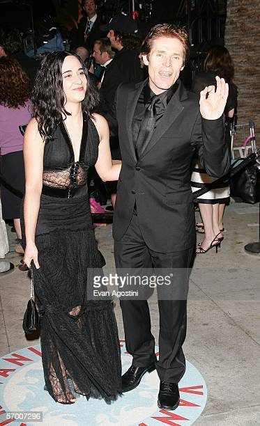 Actress Giada Colagrande and actor Willem Dafoe arrive at the Vanity Fair Oscar Party at Mortons on March 5 2006 in West Hollywood California