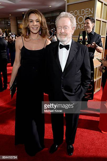 Actress Giannina Facio and director Ridley Scott attend the 73rd Annual Golden Globe Awards held at the Beverly Hilton Hotel on January 10, 2016 in...