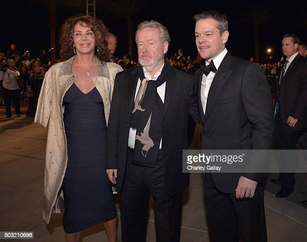 Actress Giannina Facio, director Ridley Scott and actor Matt Damon attend the 27th Annual Palm Springs International Film Festival Awards Gala at...