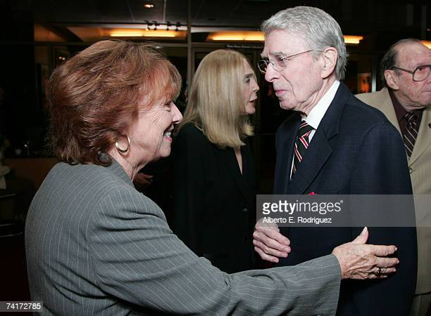 Actress Gigi Perreau and columnist Army Archerd attend the AMPAS Centennial Celebration for Barbara Stanwyck on May 16 2007 in Los Angeles California