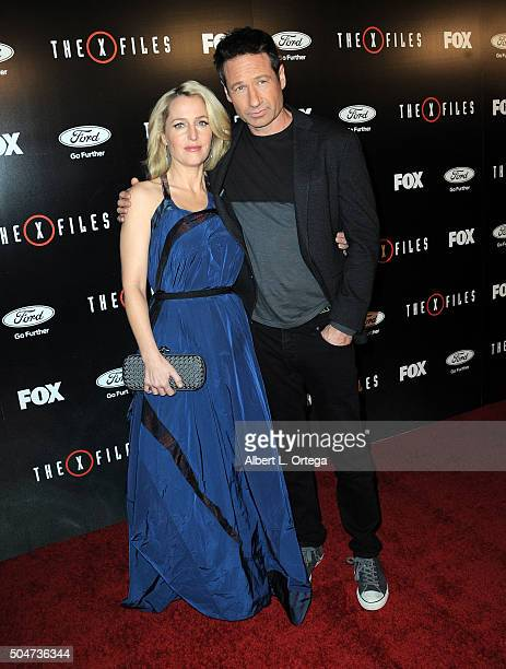 Actress Gillian Anderson and actor David Duchovny arrive for the premiere of Fox's The XFiles held at California Science Center on January 12 2016 in...