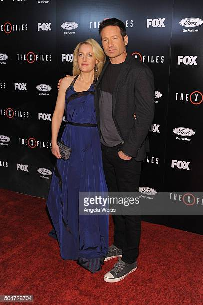 Actress Gillian Anderson and actor David Duchovny attend the premiere of Fox's The XFiles at California Science Center on January 12 2016 in Los...