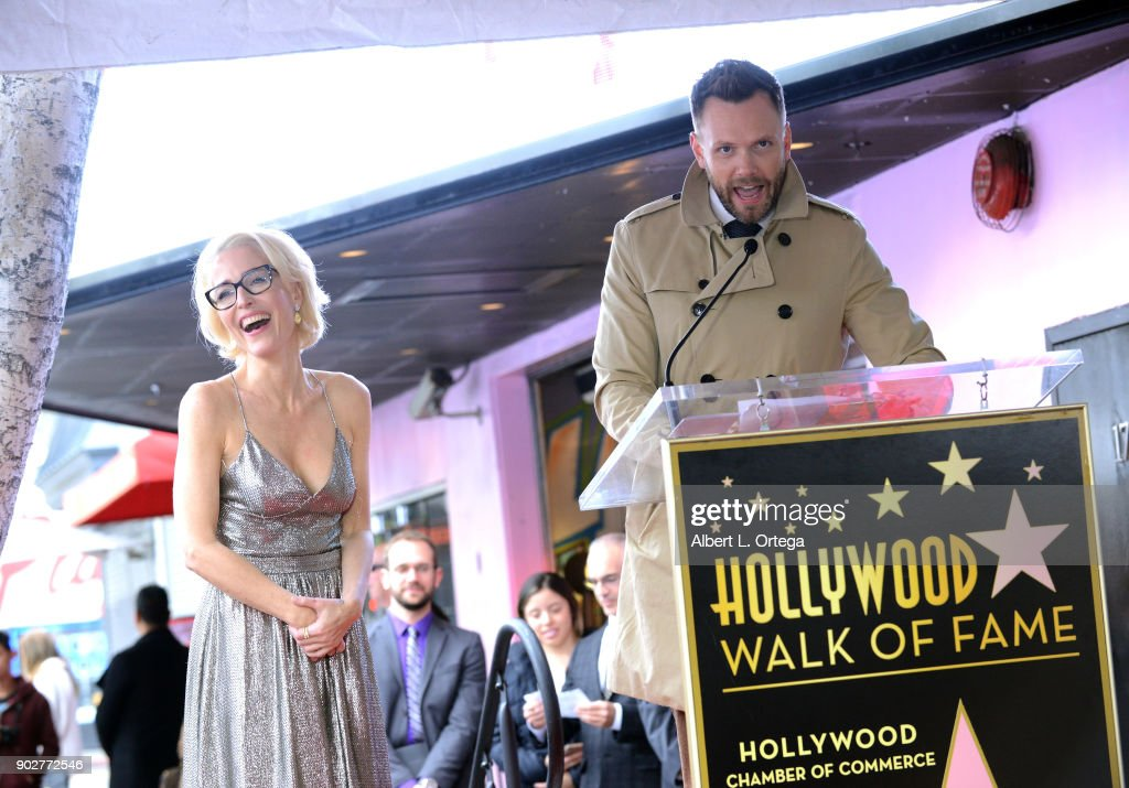 Actress Gillian ANderson and actor Joel McHale at her star ceremony on The Hollywood Walk of Fame on January 8, 2018 in Hollywood, California.