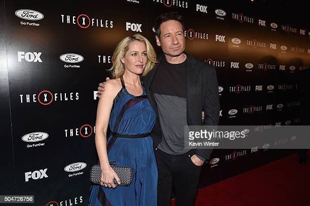 Actress Gillian Anderson and David Duchovny attend the premiere of Fox's The XFiles at California Science Center on January 12 2016 in Los Angeles...