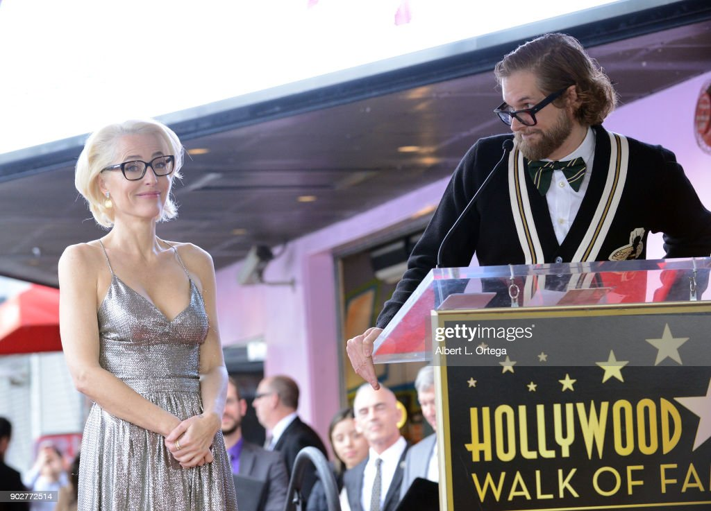 Actress Gillian ANderson and writer Bryan Fuller at her star ceremony on The Hollywood Walk of Fame on January 8, 2018 in Hollywood, California.