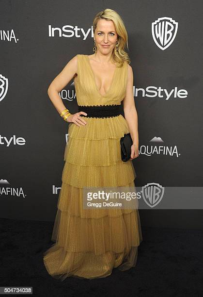 Actress Gillian Anderson arrives at the 2016 InStyle And Warner Bros 73rd Annual Golden Globe Awards PostParty at The Beverly Hilton Hotel on January...
