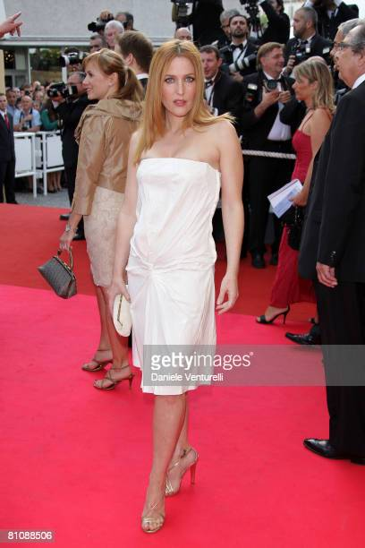 """Actress Gillian Anderson arrives at the """"Blindness"""" premiere during the 61st Cannes International Film Festival on May 14, 2008 in Cannes, France."""