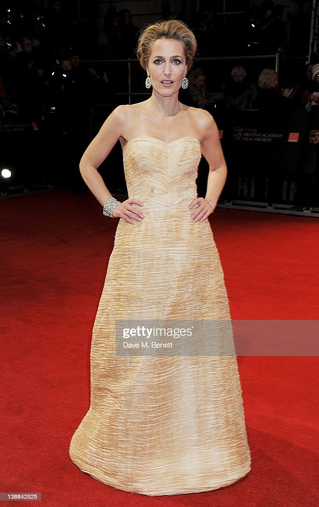 Actress Gillian Anderson arrives at the Orange British Academy Film Awards 2012 at The Royal Opera House on February 12, 2012 in London, England.