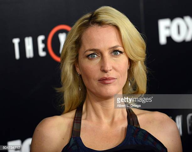 Actress Gillian Anderson arrives for the Premiere Of Fox's The XFiles held at California Science Center on January 12 2016 in Los Angeles California