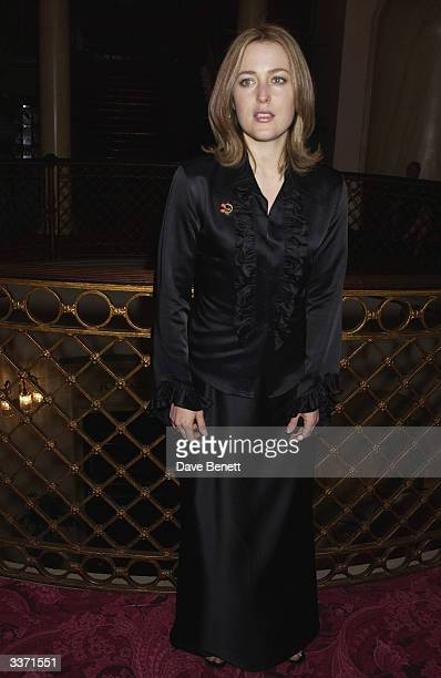 Actress Gillian Anderson at the UK Neurofibromatosis Association 20th Anniversary Gala Concert held at the Theatre Royal on 12th May 2002 in London
