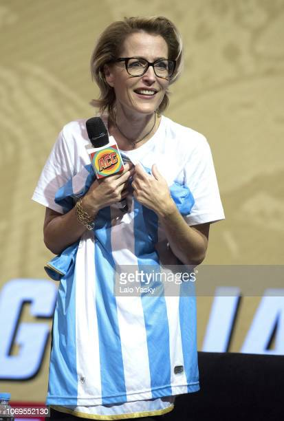 Actress Gillian Anderson attends a panel as part of ComiCon Argentina at Costa Salguero on December 7 2018 in Buenos Aires Argentina