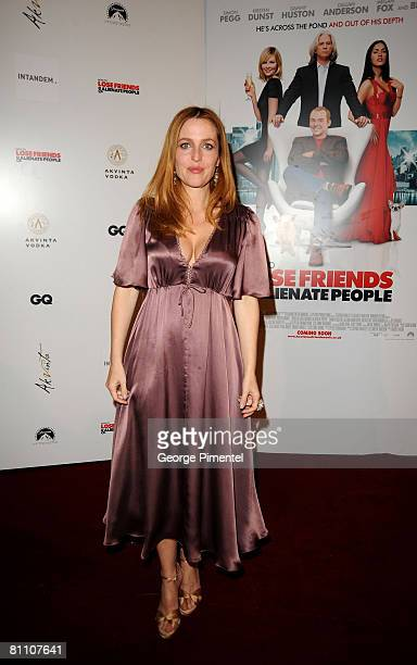 Actress Gillian Anderson attends the AKVINTA GQ Party for How to Lose Friends Alienate People Premiere at the Festival House Villa Khayat during the...