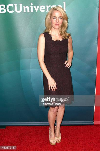 Actress Gillian Anderson attends the NBC/Universal 2014 TCA Winter Press Tour held at The Langham Huntington Hotel and Spa on January 19 2014 in...
