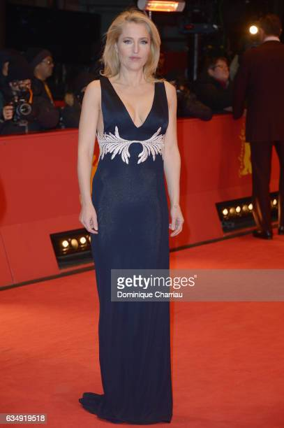 Actress Gillian Anderson attends the 'Viceroy's House' premiere during the 67th Berlinale International Film Festival Berlin at Berlinale Palace on...