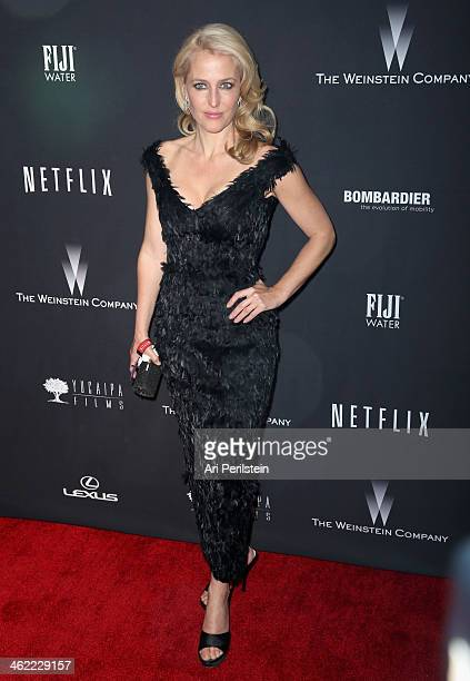 Actress Gillian Anderson attends The Weinstein Company Netflix's 2014 Golden Globes After Party presented by Bombardier FIJI Water Lexus Laura...