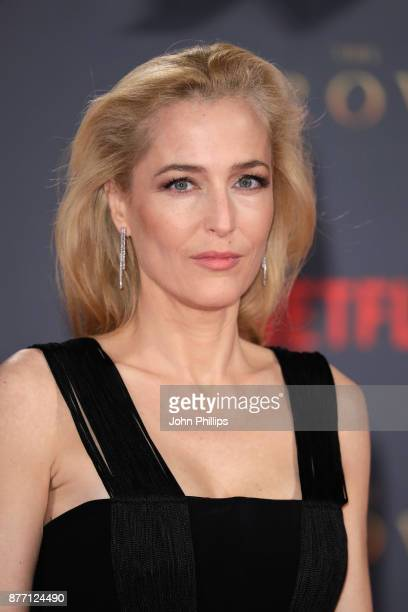 Actress Gillian Anderson attends the World Premiere of season 2 of Netflix The Crown at Odeon Leicester Square on November 21 2017 in London England